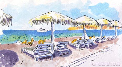 Aquarel·la de la platja Vlitxada de l'illa de Santorini.