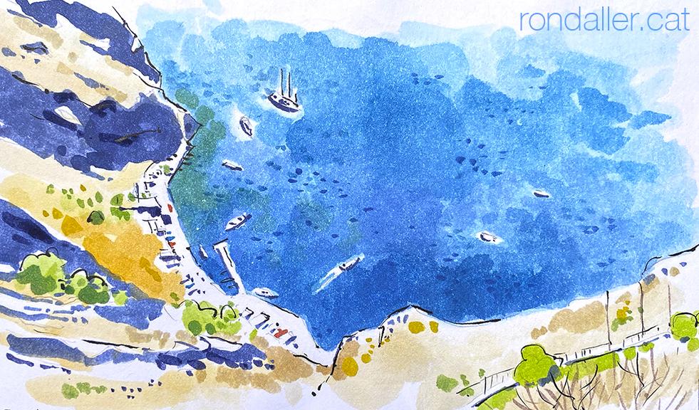 Aquarel·la amb una vista aèrea del port vell de Santorini.