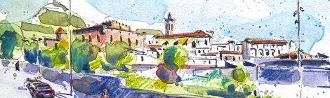 Aquarel·la amb una panoràmica de la vila de Centelles.