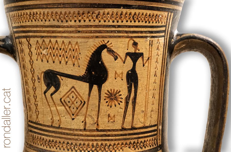 Peça de ceràmica del Museu Arqueològic d'Atenes amb la representació d'un cavall.