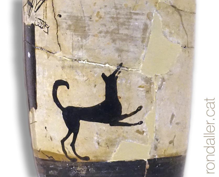 Animals a la Grècia clàssica. Peça de ceràmica amb la representació d'un gos.