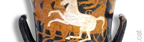 Animals a la Grècia clàssica. Peça de ceràmica amb la representació d'un cavall.
