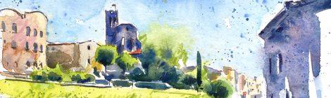 Aquarel·la amb una panoràmica de Dosrius amb l'església de Sant Iscle i Santa Victòria.