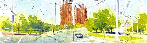 Aquarel·la amb una panoràmica dels edificis Symbol d'Esplugues de Llobregat.