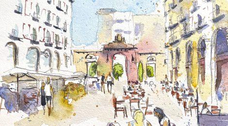 Aquarel·la de la plaça de les Peixateries Velles de Reus.