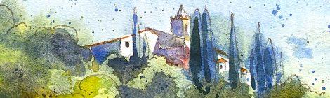 Aquarel·la de l'església de Sant Pere de Riu, dins el terme de Pineda de Mar.